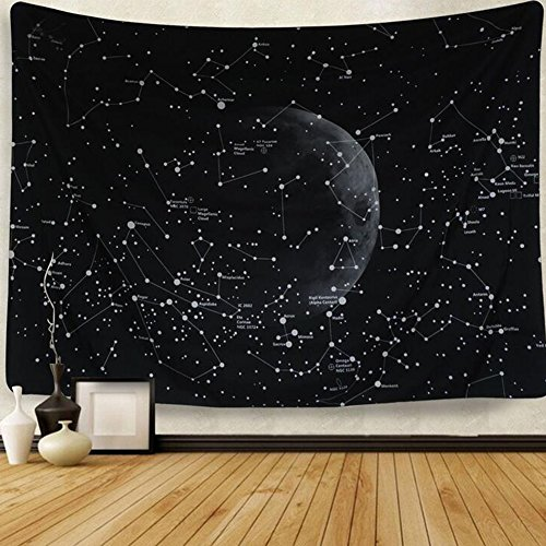 CHENG Tapisserie-Konstellation Sofa-Hintergrund Tuch Black Star Moon Series Tapestries,148X200cm