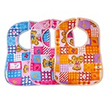 Littly Velcro Bibs Combo - Random Print , Pack of 3 (Multicolor)