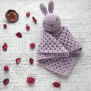 Doudou Neonato Maschio e Femmina colore Lilla Il Coniglietto Fazzoletto Fatto a Mano all'Uncinetto in Cotone T
