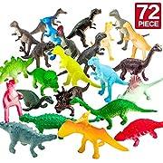 """72 Mini Figure Dinosauri Stili Assortiti con Confezione Regalo Dimensione 2"""" a 4"""" in lunghezza. Fatto di plastica di alta qualità e naturale ecologica! Nessun odore e atossico, adatto alla decorazione di torta. Questo pacco è perfetto per edu..."""