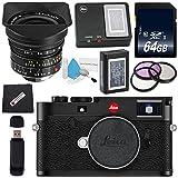 Leica M10 Digitaler Entfernungsmesser + Leica Super-Elmar-M 18 mm f/3.8 ASPH, Schwarz Objektiv, 77 mm, 3-Teiliges Filter-Set + 64 GB SDXC-Karte + Kartenleser + Mikrofasertuch, schwarz, w/18mm