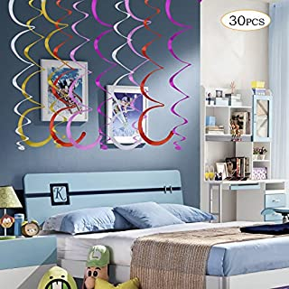 Winko Multi Coloured Hanging Swirl Decorations, Pack of 30