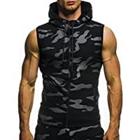 Pingtr Men's Slim Fit Muscle T Shirts, Men's Summer Camouflage Print Hooded Sleeveless T-Shirt Sports Athletic Running…