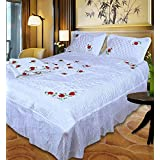 Fashionadobe Satin White Gold Printed Double Bed Bedding Wedding Set ( Set Of 4 Pcs) 1 Double Bed Bedsheet:: 2 Pillow Cover:: 1 Double Bed AC Comforter