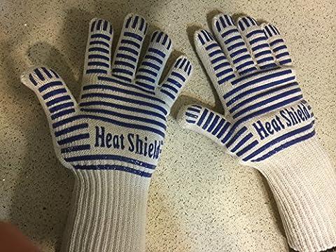 Gants avec 5doigts Flexi Grip, Heat Shield® avec revêtement antidérapant en silicone, poignet long, protection contre la chaleur, à l'épreuve des flammes, extérieur en Nomex et Kevlar, doublure en coton, (1paire), Coton, Large / Extra Large 36cm