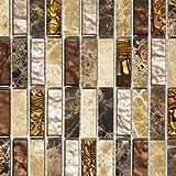 Mosaik Fliese Transluzent beige braun Stäbchen Glasmosaik Crystal Stein beige braun für BODEN WAND BAD WC DUSCHE KÜCHE FLIESENSPIEGEL THEKENVERKLEIDUNG BADEWANNENVERKLEIDUNG Mosaikmatte Mosaikplatte