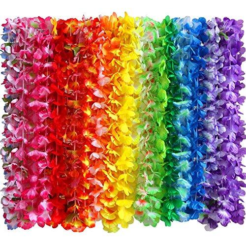 Hawaii Ketten Hawaii Deko Blumenketten Hawaiian Leis Halskette Tropischen Luau Hawaii Thema Party Favors Kränze Stirnbänder Urlaub Hochzeit Strand Geburtstag Dekorationen ()