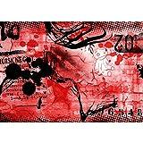 Vlies Fototapete PREMIUM PLUS Wand Foto Tapete Wand Bild Vliestapete - RED GRAFFITI WALL - Kinderzimmer Teen Jugendzimmer Graffitti Rot, Größe:400x280cm Vlies