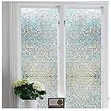 Fensterfolie 3D Dekofolie Sichtschutzfolie Zindoo Statisch Selbsthaftend Ohne Kleber Kleines Quadrat Anti-UV Milchglasfolie Fensterfolie für Badezimmer, Zuhause 45 x 200cm