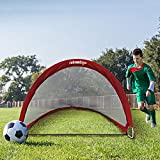 Relaxdays 10018925 - Pop-Up Fußballtor 2-er Set, faltbar 120 cm breit, rot -
