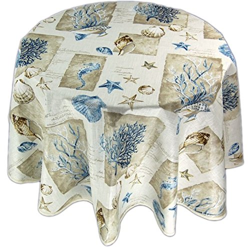 abwaschbare Tischdecke Rund 130 cm Koralle Baumwolle Beschichtet Muscheln Maritim Baumwolldecke J. Schleiß/Deutschland (130 cm rund)