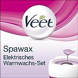 Veet Spawax elektrisches Warmwachs Set - Langanhaltende Haarentfernung für bis zu 28 Tage glatte Haut - 1 Gerät mit 6 Wachsscheiben