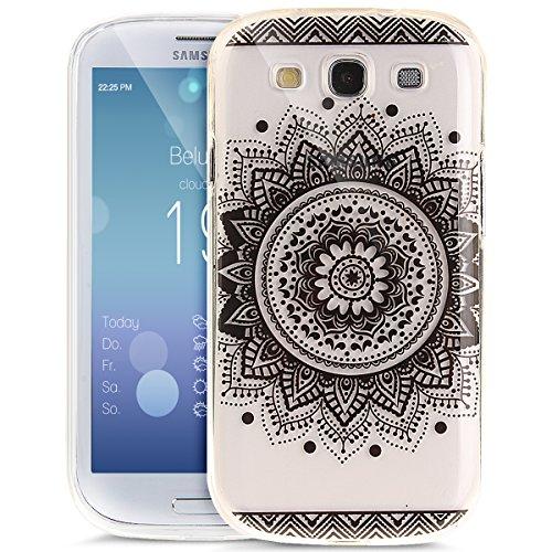 Kompatibel mit Galaxy S3 Neo Hülle,Galaxy S3 Hülle,Bunte Kunst Gemalt Kristallklar TPU Silikon Hülle Tasche Crystal Case Durchsichtig Schutzhülle für Galaxy S3/S3 Neo,Schwarze Spitze Mandala Blumen #2 -