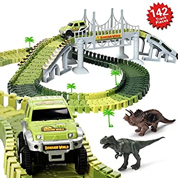 Actrinic Slot Car Race Track Sets Dinosaur Toys Jurassic World With 142 Pieces Flexible Tracks 2 Dinosaurs,1 Military Vehicles,4 Trees,2 Slopes,1 Double-door & 1 Hanging Bridge For Children's Gift 4