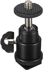 "Hanumex® 1/4"""" Black Ball Head Bracket/Holder/Mount for Camera Tripod Hot Shoe Adapter"
