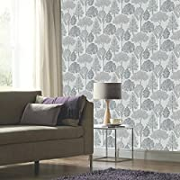 Ellwood Trees Wallpaper Silver Arthouse 670002 by Arthouse