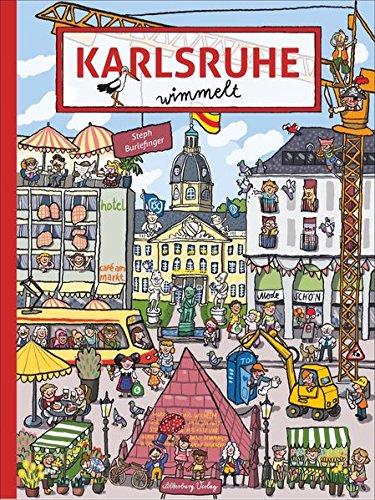 Karlsruhe wimmelt. Wimmelspaß total auf den Plätzen und Straßen der Fächerstadt. Es gibt viel zu entdecken in diesem liebevoll gestalteten Band für Kinder, Eltern und Großeltern.