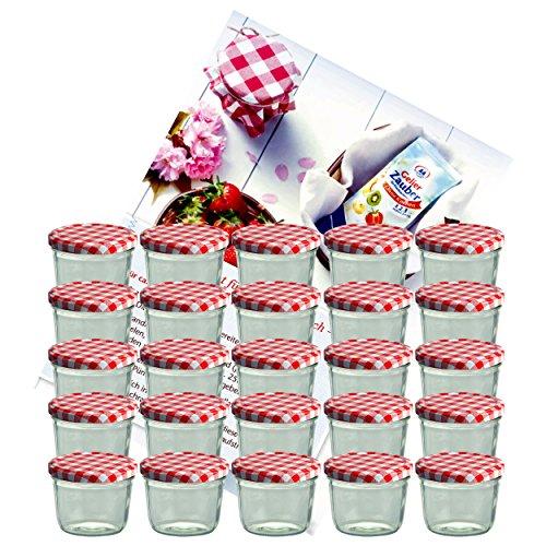 MamboCat 25er Set Sturzglas 230 ml Marmeladenglas Einmachglas Einweckglas To 82 rot karierter Deckel incl. Diamant-Zucker Gelierzauber Rezeptheft