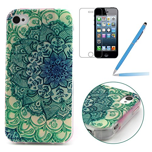iPhone 4 Silicone Case,iPhone 4S Coque - Felfy Ultra Slim Soft Gel Flexible TPU Case Cover Coque Housse Beaux Motifs Peint Protection Case Cover Etui (Renard Mignon) + 1 x Noir Stylus + 1 x Screen Pro Peacock Flower