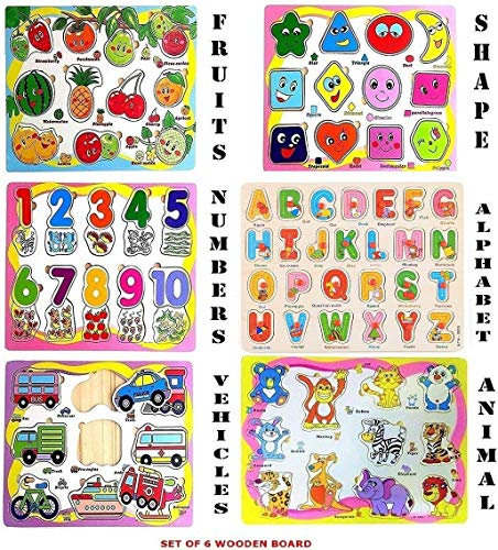 Techno Buzz Deal Wooden Educational Colorful Fruits, Numbers, Geometric Shapes, Animals,Vehicles, Alphabet - Set of 6 Puzzle Board
