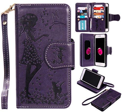 us / 8 Plus Schutzhülle, [9 Card Slots] PU Leder Flip Wallet Case Leder Tasche Bumper Stand Funktion Kartenfächer Magnet Closure HandyHülle für iPhone 7 Plus / 8 Plus - lila ()