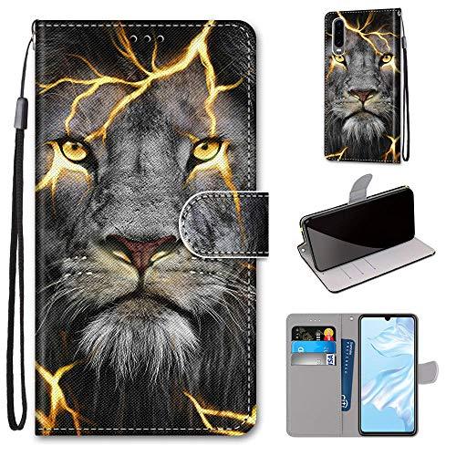 Miagon Flip PU Leder Schutzhülle für Huawei P30,Bunt Muster Hülle Brieftasche Case Cover Ständer mit Kartenfächer Trageschlaufe,Wütend Löwe