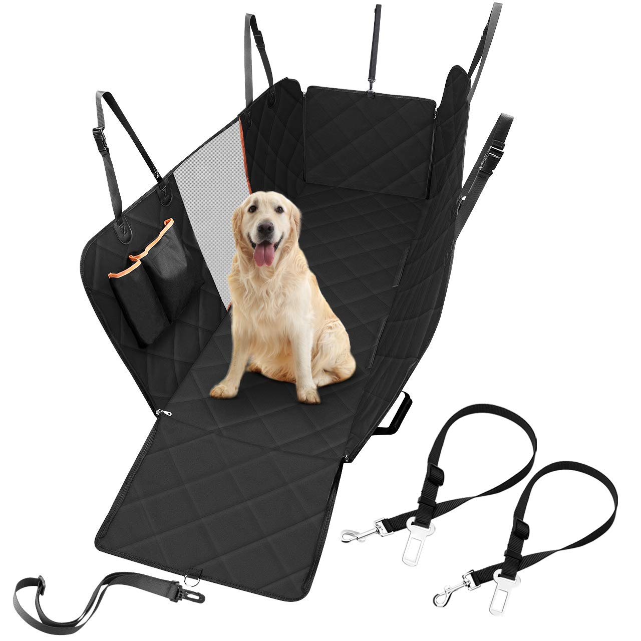 Stupendous Dog Car Seat Cover With Mesh Viewing Window Atmoko Durable Scratch Proof Dog Seat Covers With Seat Belts Storage Pocket Side Flaps Waterproof Dog Short Links Chair Design For Home Short Linksinfo