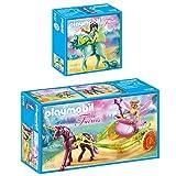 PLAYMOBIL® Fairies 2er Set 9136 9137 Blumenfee mit Einhornkutsche + Wasserfee mit Pferd