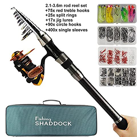 Carbon Firble Telescopic Spinning Fishing Pole Rod and Reel Combo FULL KIT with Jig Lures Treble Hooks Beads Swivel Snap Sinker Sliders Fishing Carrier Bag Case Fishing Gear Organizer