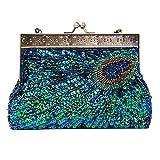 Cartera de mano de satén para mujer verde Bolso Bolsa de Embrague Bolso de Fiesta Boda (Azul)
