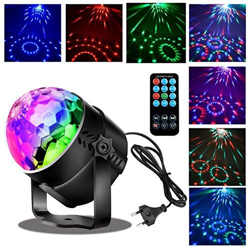 Disco Lichteffekte Discokugel Partylicht Beleuchtung LED Party Lampe mit Fernbedienung -SUNLIST 3W Discokugel Discolicht für Kinder,Musik und...