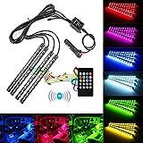 Dax-hub LED-Stimmungslicht, 48LED, Gleichstrom, 12V, mehrfarbige LED-Streifen, Licht für den Auto-Innenraum, Musik-Synchronisiation,Beleuchtung unter dem Armaturenbrett, Lichter-Set. RGB-Farben, LED-Klebeband-Beleuchtung mit 20Tasten, kabellose Fernbedienung für Van, LKW, Motorrad (7-farbiges Auto-Stimmungslicht), 4 Stück