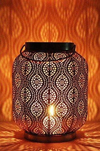 Orientalische Laterne aus Metall Baghira Gold 26cm | orientalisches Marokkanisches Windlicht Gartenwindlicht | Marokkanische Metalllaterne für draußen als Gartenlaterne, oder Innen als Tischlaterne -