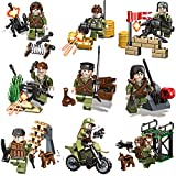 Shiney Militär Minifiguren mit Militärwaffen Zubehör Spielzeug Bausteine für Kinder Kindergarten Spielzeug Junge Geburtstag Geschenk Weihnachtsgeschenk 9 Stücke