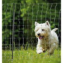 Hundezaun Katzenzaun Hühnerzaun 25m grün +9 Pfähle Hütezaun Hütenetz Hunde/Katzen-Zaun Einzäunung