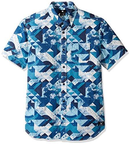 DC Herren Button-Down Hemd, Blue Geo Rusto, X-Large -