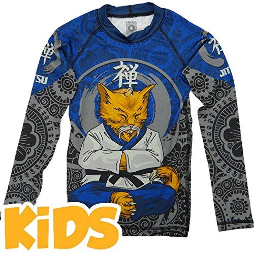 Kids Rashguard Jitsu Zen-cat-8 years Kompressionsshirt MMA BJJ UFC Kinder (Mixed-martial-arts-matten)