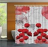 Personalità di moda Tende da doccia, tessuto di stampa digitale in poliestere impermeabile Tendine per divisori - Fiore rosso - Anello appendiabiti in plastica bianca / gancio - 150/165 / 180cm Antibatterico facile da pulire ( dimensioni : 180(D)*180(L)cm )