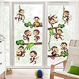 Bilderwelten Fenstersticker Affen des Dschungels Kinderzimmer Fenstersticker Fensterfolie Fenstertattoo Fensterbild Fenster-Deko Fensteraufkleber Fensterdekoration Glas-Sticker Größe HxB: 30cm x 45cm