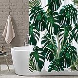 LB Jungle Tropical Palm Blätter Duschvorhang, Grünes Monstera Blumen Weißer Hintergrund Badezimmer Vorhänge Wasserdicht Anti-Schimmel Polyestergewebe Wohnaccessoires 150W * 180H cm mit Vorhanghaken