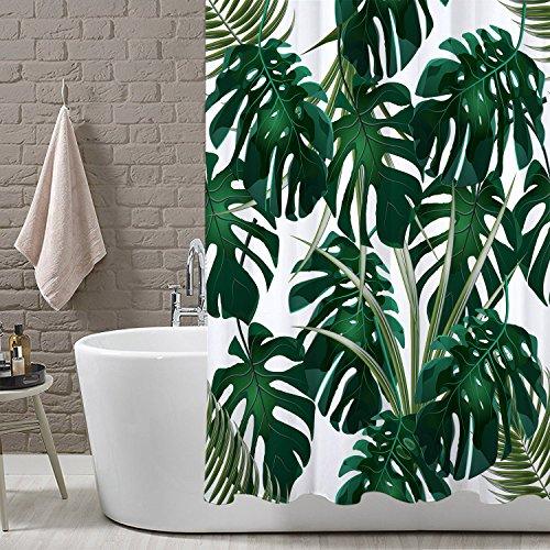 LB Tropischer Dschungel Duschvorhang 150W * 180H cm Weiß Grün Palm Blätter Monstera Muster Wasserdicht Polyester Stoff Bad Vorhänge Badezimmer Dekor (Bad Blatt)