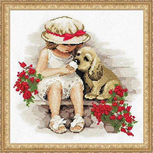 Riolis Stickpackung Mädchen mit Hund, gezählter Kreuzstich
