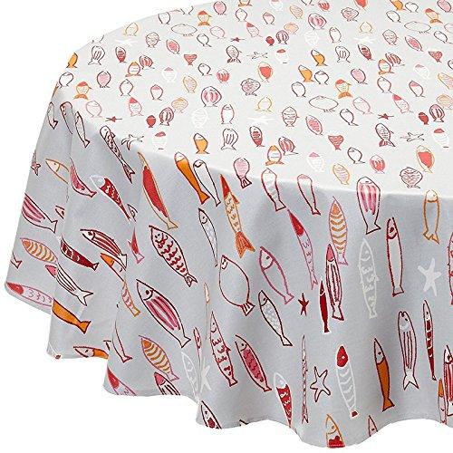 Fleur de soleil N160ROEPOS Nappe ronde Coton enduit Rouge/Rose/Orange/Gris 160 cm