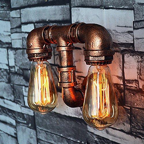 Lampada da parete a led in ferro battuto moda lampada da parete a soffietto vintage luci da parete a soppalco in ferro lampade da parete edison steampunk per magazzino garage villa cafe lampada da parete applique da parete con 2 luci
