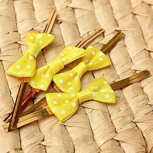 Aliciashouse 20pcs cravatta di filo metallico pois torsione con Bow Candy Cookie torta borsa - giallo