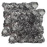 Oriskey 2er-Set 3D Satin Rose Blumen Kissenhülle Kissenbezug Kissenbezüge Dekokissen Kissen Fall Haus Bett Sofa Couch Zimmer Auto Dekorative Grau 42x42cm