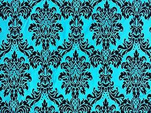 Taffetas Bleu sarcelle Motif tissu damassé victorien rideaux/Coussins/STORES romains Tissu au mètre
