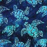 Tissu Robert Kaufman teinté/Batik bleu-vert foncé, tortues, Totally Tropical