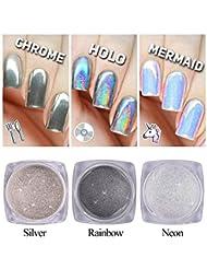 3 box Nagel Glitter Staub Einhorn Neon Holo Silber Sparkly Chrom Pigment Nail Art Pailletten Mode DIY Pulver