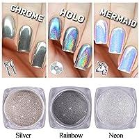 3 botella polvos acrilico para decoracion uñas purpurina unicornio neón holo plata cromo pigmento glitter nail art manicura